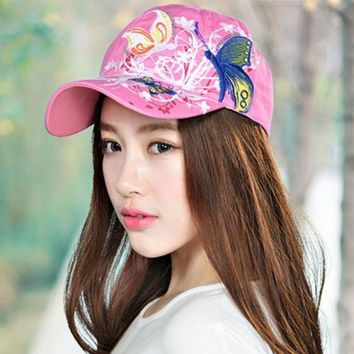 ESBG8W Summer Women Lady Flowers Butterfly Embroidered Golf Sun Hat Adjustable Baseball Cap