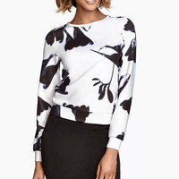 White Floral Print Long-Sleeve Sweater