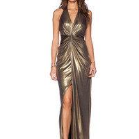 Gold Halter Split Backless Maxi Dress - Sheinside.com