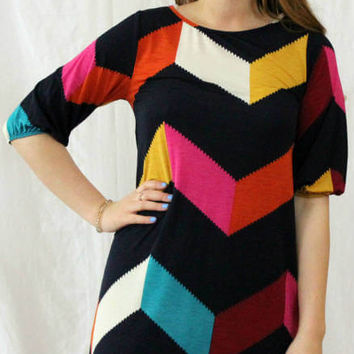 """THE LOLA"" COLOR BLOCK CHEVRON SHIFT DRESS"