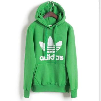 "Fashion ""Adidas"" Print Hooded Pullover Tops Sweater Sweatshirts Green"