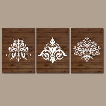 DAMASK Wall Art  Artwork Wood Grain Pattern French Country Design White Set of 3 Trio Prints Bedroom Decor Three