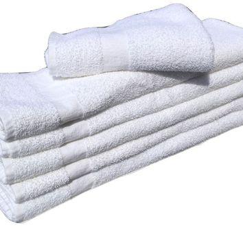 12 Pcs New White (20x40) 100% Cotton Terry Bath Towels Salon/gym towels light weight fast drying