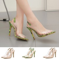 Women Fashion Transparent Snakeskin High Heel Pumps