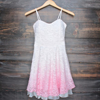 glits & glams lacy floral dip dye fit and flare dress - pink