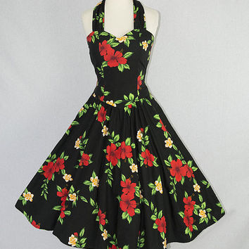 Vintage 80s 1950s Style HAWAIIAN BOMBSHELL Halter Circle Sun Dress