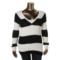 Sanctuary Womens Boucle Knit V-Neck Sweater