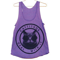 Cattitude Tank Top Orchid (Select Size)
