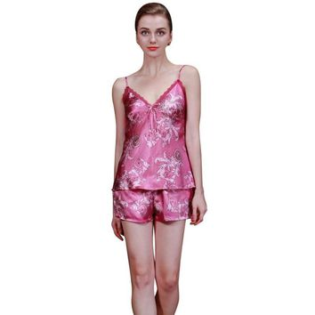 Sexy Women Silk Satin Pajama Set