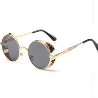Unique Steampunk Sunglasses Unisex Round Gothic Sun Glasses Ladies 2015 Retro Future Sunglass Styles Flowers Pattern Frame 8990 - Steampunk Corsets