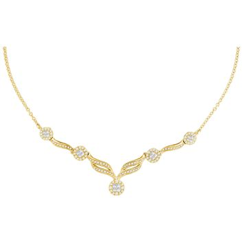 """14kt Yellow Gold Womens Princess Diamond Soleil Cluster Luxury 18"""" Necklace 1.00 Cttw"""