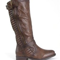 Blossom Footwear Pita Quilted Tall Riding Boots in Brown PITA-26-BRN