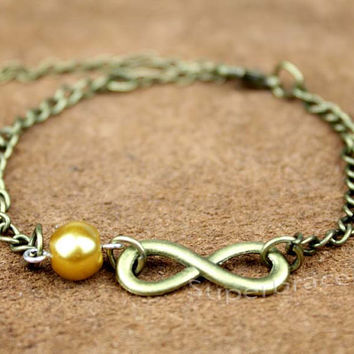 Infinity Necklace - a little bronze karma&alloy pearl bracelet chain - love - a gift to girlfriend and BFF