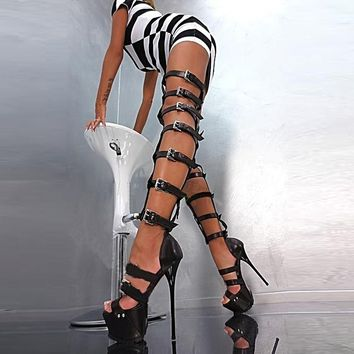 Super Sexy Roman Gladiator Thigh High Sandal Boots
