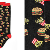 BURGER MANIA, WOMEN'S KNEE-HIGH SOCK, BURGERS & FRIES DESIGN