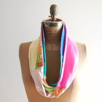 T Shirt Scarf / Pastel Colors / Infinity Scarf / Yellow Orange Hot Pink Aqua Teal / Recycled / Upcycled / Cotton / Soft / Handmade / ohzie