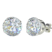 Sterling Silver Round Clear CZ Stud Earrings Cubic Zirconia Prong Set 925 USA