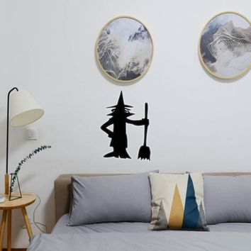 Halloween Witch Standing With Broom 01 Vinyl Wall Decal - Removable (Indoor)