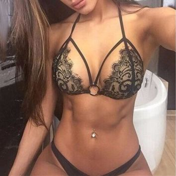 Black Bandage Lace crochet  Push Up Bikini Sets