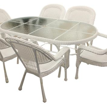 7-Piece White Resin Wicker Patio Dining Set - 6 Chairs and 1 Dining Table