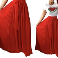 Jillian Long Pleated Maxi Skirt