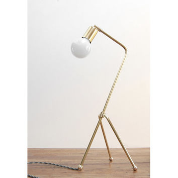 "Modern Table Lamp - Mid Century Table Lamp - Brass - Modern Desk Lamp - Grasshopper Lamp - Reading - Modern Bedside Lamp - ""BrassHopper Jr."""