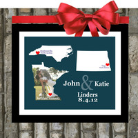 Custom Wedding States Art Print - 8x10 Custom Art, Two States, Hearts, Love, Husband and Wife, Popular Wedding Gifts, Three States