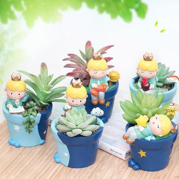 Roogo 6 Cute Prince Succulent Planter Pots Resin Little Boy Flowerpot Bonsai Crafts Home Garden Yard Decor Birthday gifts