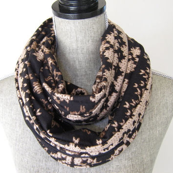 Infinity Scarf in Black and Tan Jersey Knit - Abstract Nordic Print Scarf