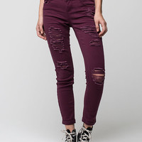 VANILLA STAR PREMIUM Destructed Roll Cuff Womens Skinny Jeans | Skinny