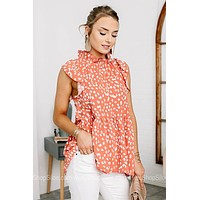 Get Spotted Ruffle Sleeveless Top
