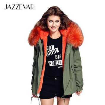 ESBONRZ JAZZEVAR woman army green Large raccoon fur collar hooded coat parkas outwear 2 in 1 detachable lining winter jacket brand style