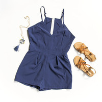 Blue V-Neck Romper
