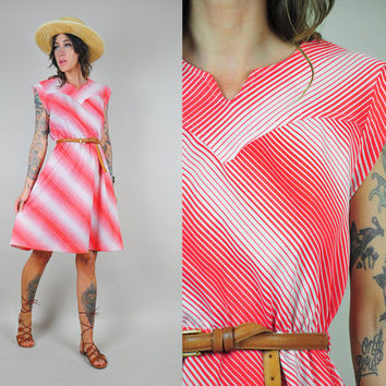 vtg 80's red STRIPED gradient shirt DRESS French ombré cap sleeve cute full skirt