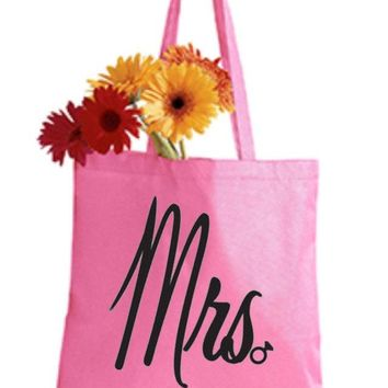 Mrs Pink Tote Bag - Bride to Be, Newlywed, Bridal, Wedding, Shower, Bachelorette Party Gift