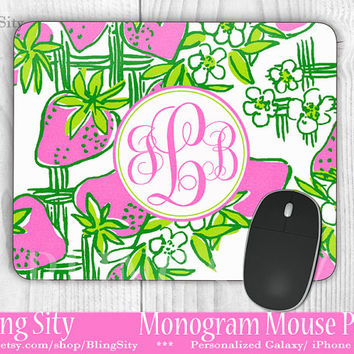 Green Pink Strawberry Monogram Mouse Pad Mousepad Pretty Strawberries Patch Custom Personalized Mouse pad Monogrammed Coasters
