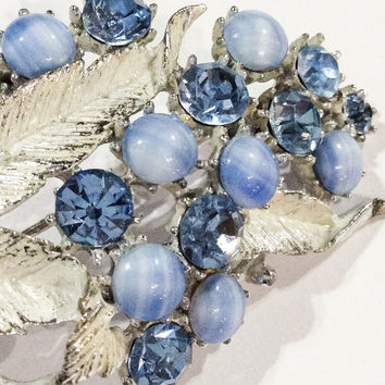 Givre Glass Brooch, Blue, Blossom, Leaf Pin, Vintage Jewelry