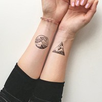 Waterproof Temporary Fake Tattoo Stickers Cool Ocean Wave Mountain Design Body Art Make Up Tools