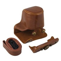 TARION PU Leather Camera Case Bag Cover for Pentax QS1 Q-S1 Digital Camera 5-15mm Lens with Strap Color Brown