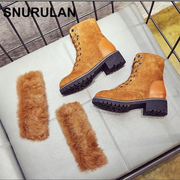 SNURULAN Winter Fashion Women Snow Boots Genuine Leather Lady Shoe Angora Female Warm Furry Ankle Boots British Style Booties
