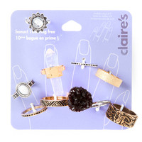 Silver, Gold and Black Rings Set of 10