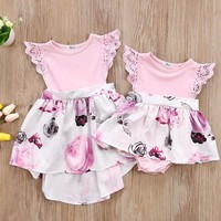 Light Pink Floral Matching Sister Romper or Dress