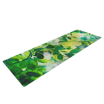 "Sylvia Cook ""Leaves"" Teal Green Yoga Mat"