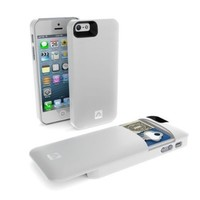Annex Holda Case for iPhone 5/5S/SE with Discrete Compartment for Credit Cards, Cash and a Key - White