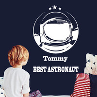 Custom Name Best Astronaut Wall Decal, Astronaut Wall Sticker, Personalized Name Spaceman Wall Decal, Space Art Decal, Kids Decor se048