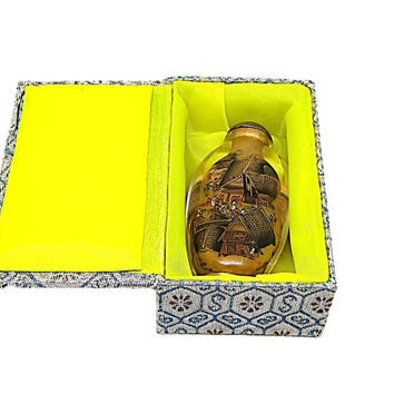 Vintage Chinese Small Glass Snuff Bottle Reverse Painting Chinoiserie