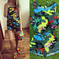 Casual Camouflage Print Drawstring Dress