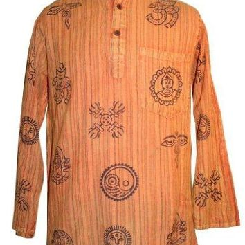 Mandarine Collar Style Auspicious Symbol Light Weight Cotton Shirt Tunic Nepal
