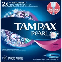 Tampax Pearl Plastic Ultra Absorbency Unscented Tampons 18 Count - Walmart.com