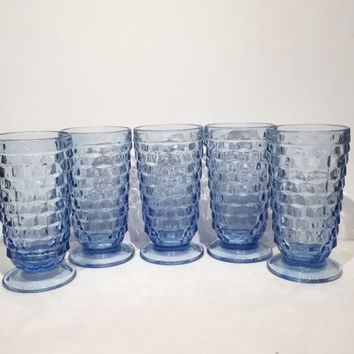 Blue Whitehall Stemmed Glasses, Colony Whitehall Sky Blue Iced Tea Glasses
